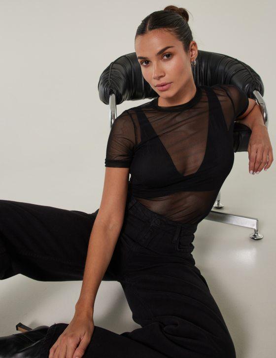Γυναικεία μπλούζα ημιδιαφανής με κοντό μανίκι και ελαστικότητα