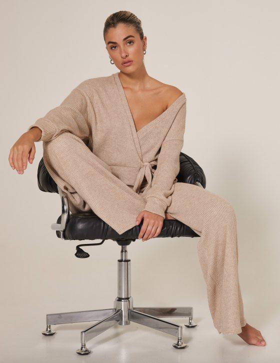 Γυναικεία πλεκτή μπλούζα ζακέτα άνετη πλεκτή