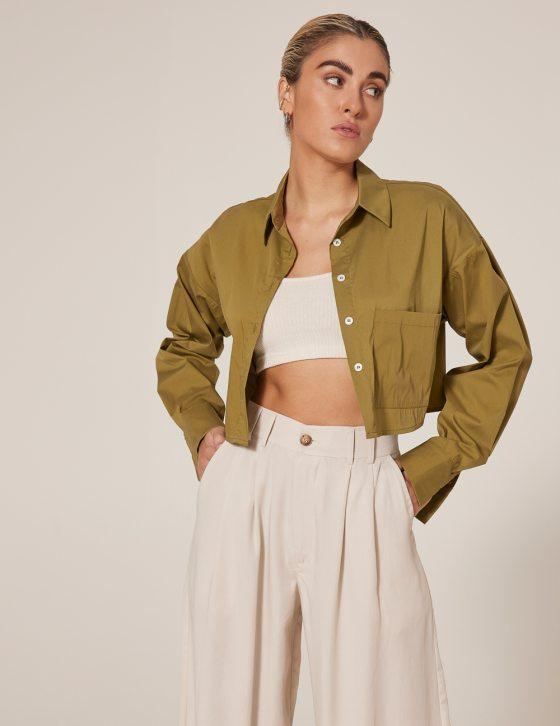 Γυναικείο πουκάμισο oversized κροπ άνετο