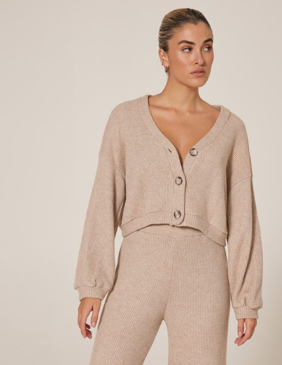 Γυναικεία μπλούζα με κουμπιά πλεκτή με μακρύ άνετο μανίκι