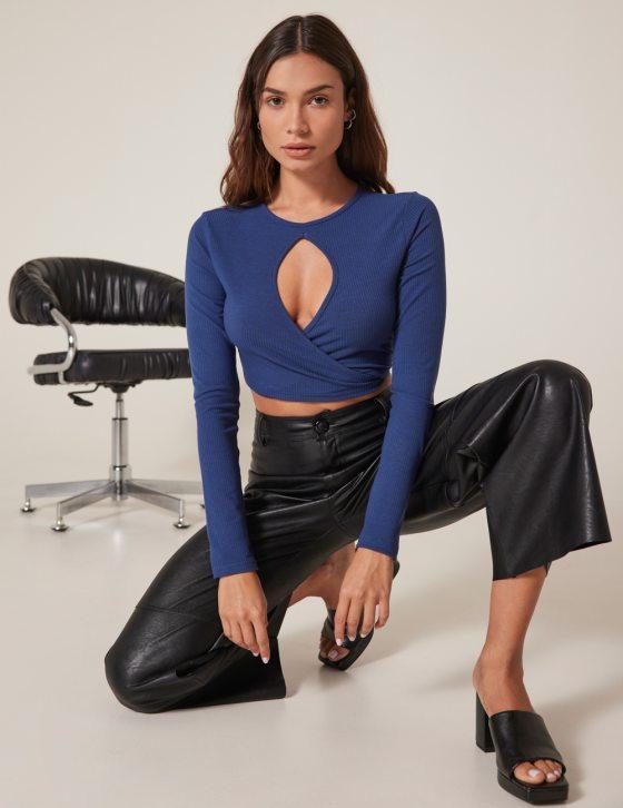 Γυναικεία μπλούζα μακρυμάνικη με δέσιμο κρουαζέ στην πλάτη
